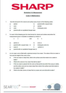 worksheet on measurement for grade 10 maths