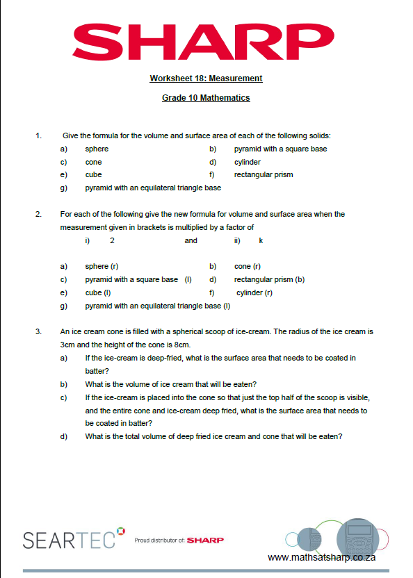 Worksheet 18 Measurement Surface Area And Volume Maths At Sharp