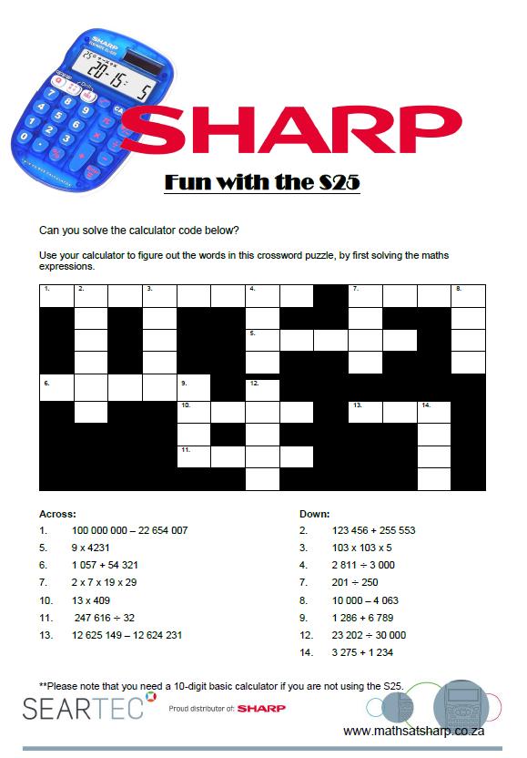 a calculator word crossword puzzle