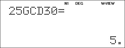Sharp calculator screen with GCD example