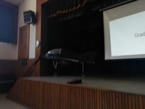 plane on a stage at Rhodesfield technical school