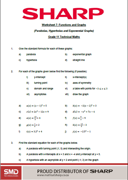 page 1 of technical maths grade 11 worksheet on parabolas, hyperbolas and exponential graphs