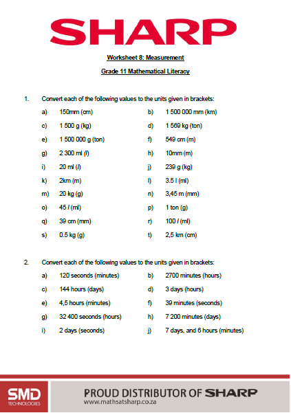 worksheet 8, measurement and conversions page 1