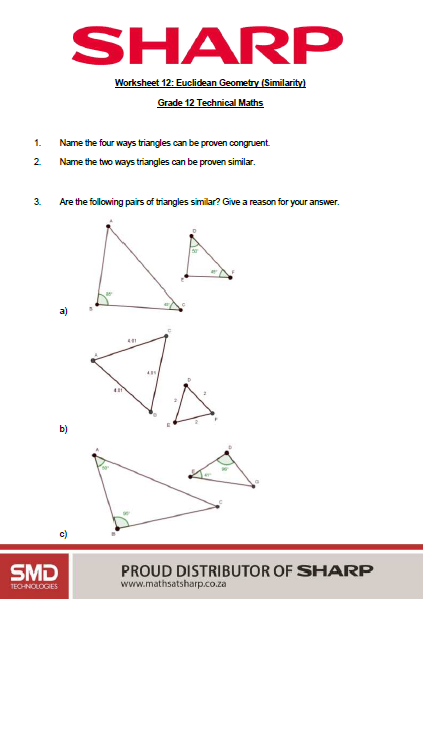 grade 12 technical maths worksheet on Euclidean geometry and similarity