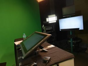green room with pc tablet